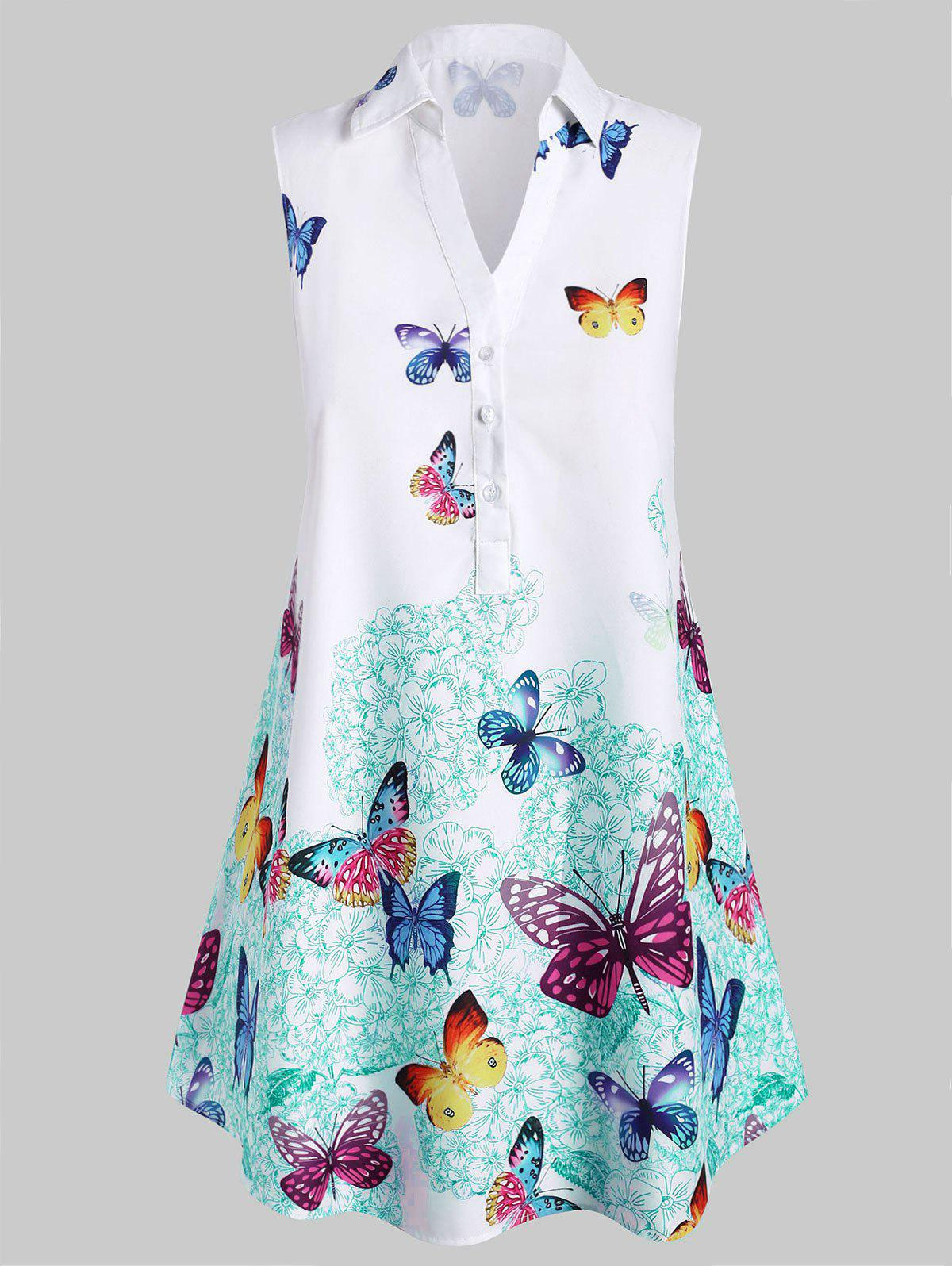 Outfits Plus Size Sleeveless Butterfly Print Graphic Blouse