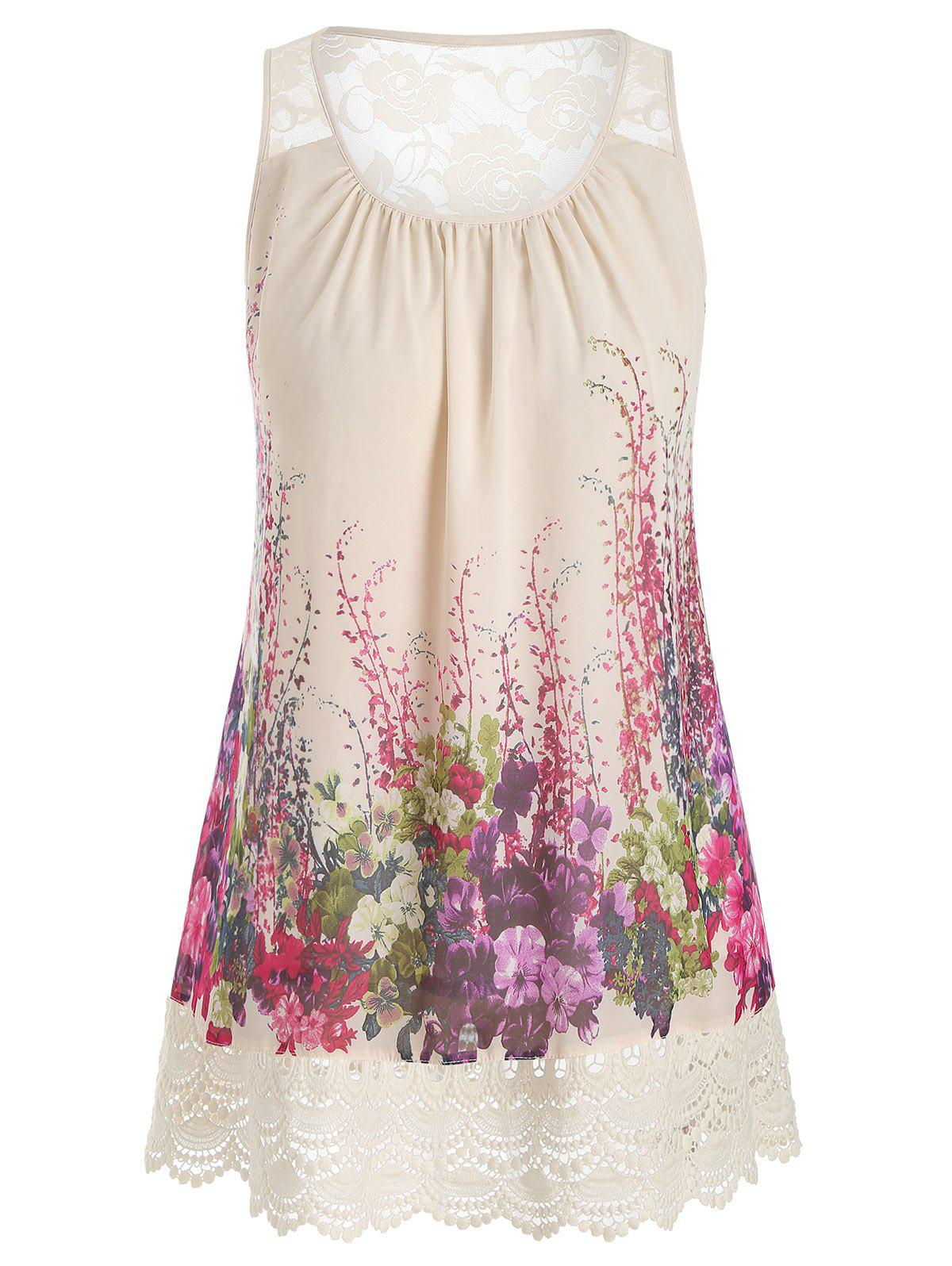 Store Plus Size Lace Insert Scalloped Floral Print Tank Top