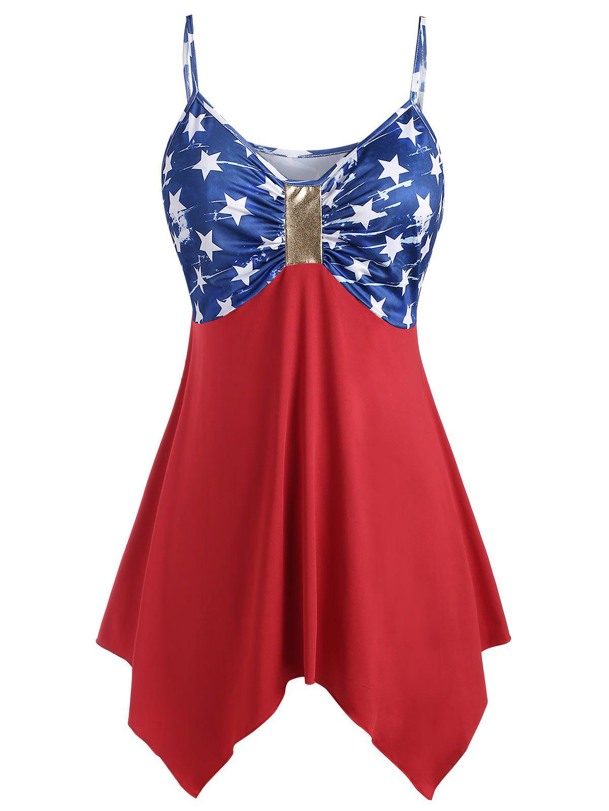 Fancy Plus Size Handkerchief Ruched American Flag Cami Top
