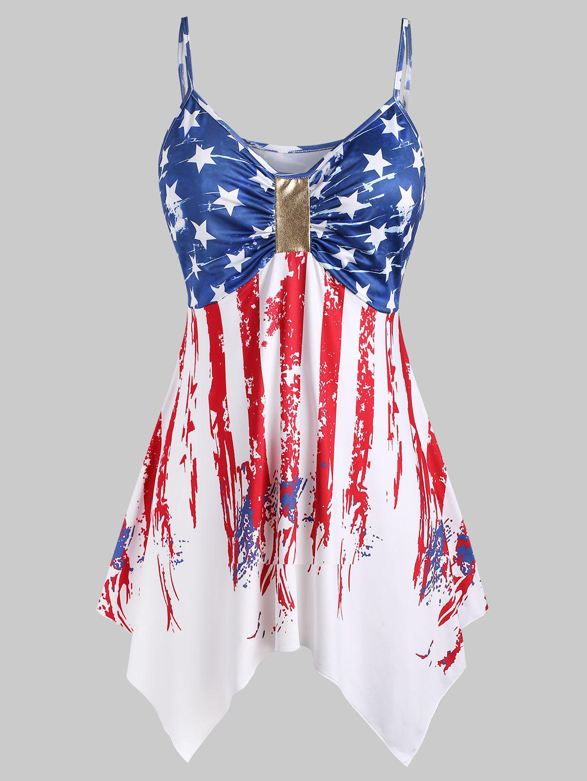 Trendy Plus Size Handkerchief Ruched American Flag Cami Top