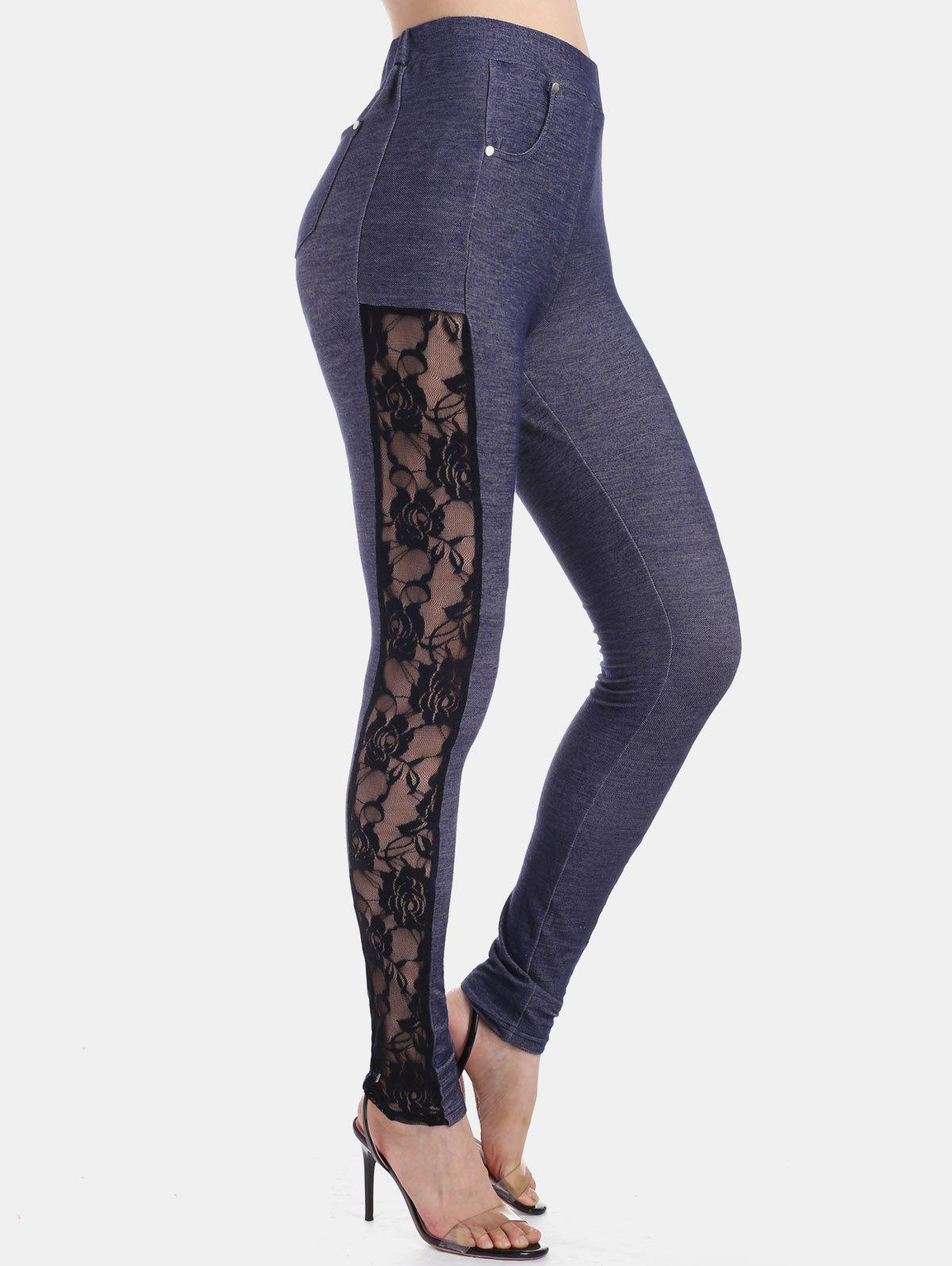 Chic High Waist Lace Insert Skinny Pants