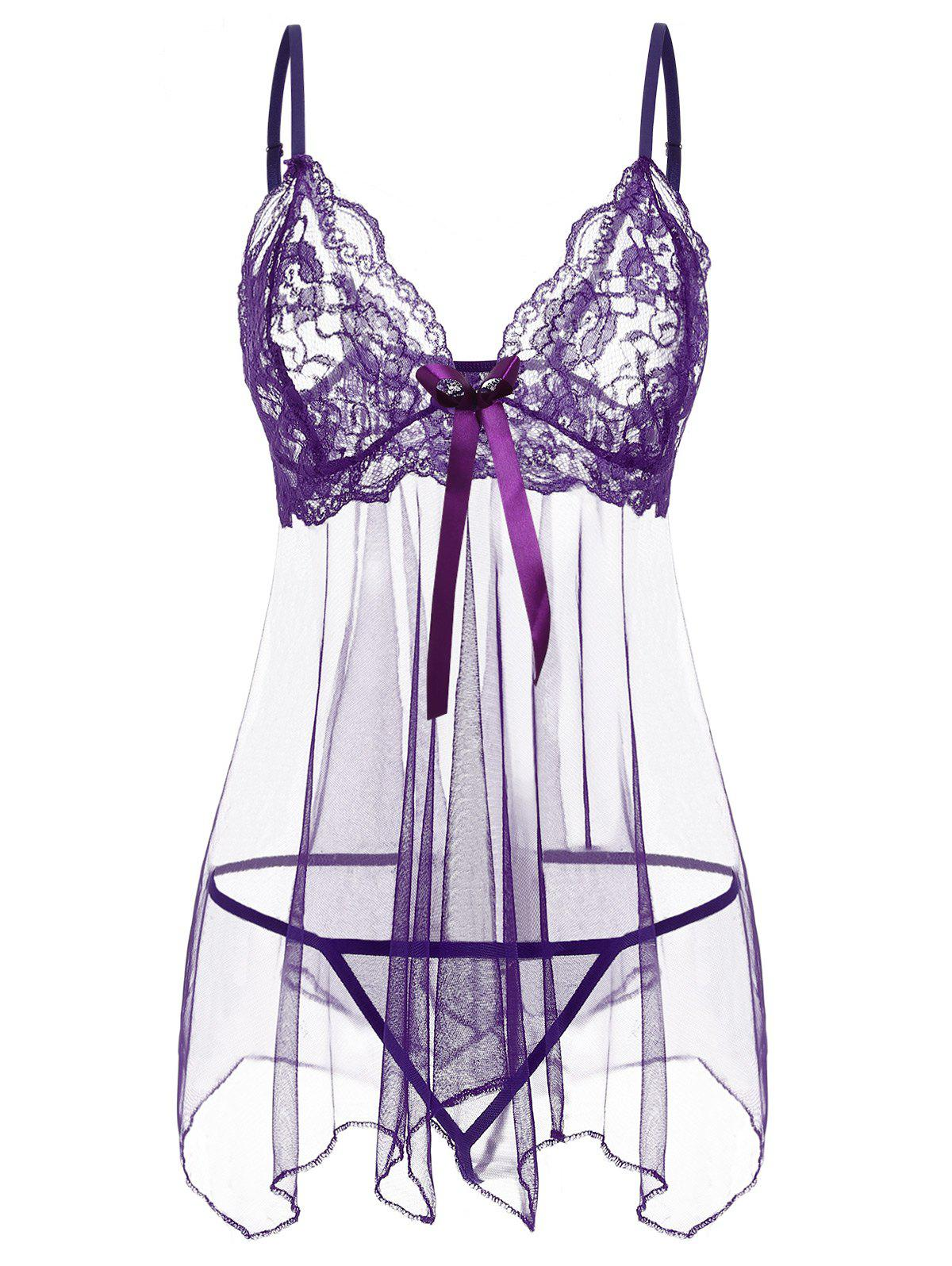 680c16468e3 Lace Panel See Through Mesh Babydoll Set