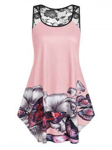 Plus Size Floral Butterfly Print Swing Tank Top