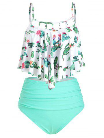 Cactus Print Cutout Flounce High Waisted Tankini Swimsuit