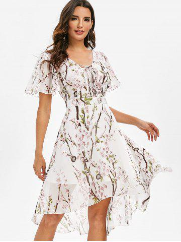 Flower Print Lace-up High Low Midi Dress