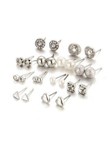 Artificial Pearl Rhinestone Heart Earring Set