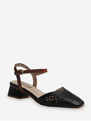 Square Toe Hollowed Ankle Strap Sandals