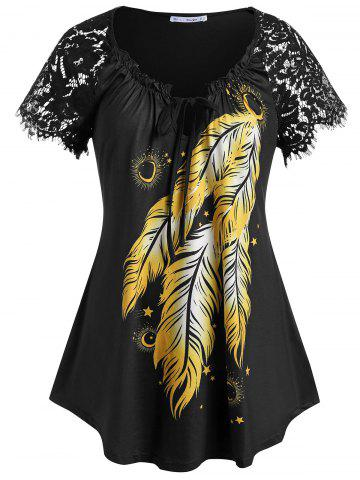 Plus Size Feather Print Lace Insert Frilled Tunic T-shirt