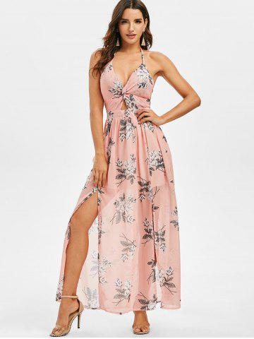 Floral Print Twisted Knotted Back Maxi Dress
