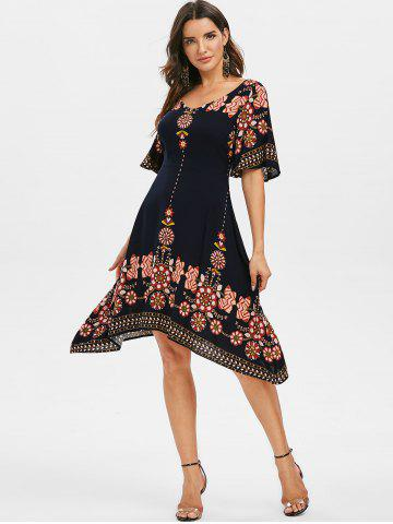 Round Collar Printed Fit And Flare Dress