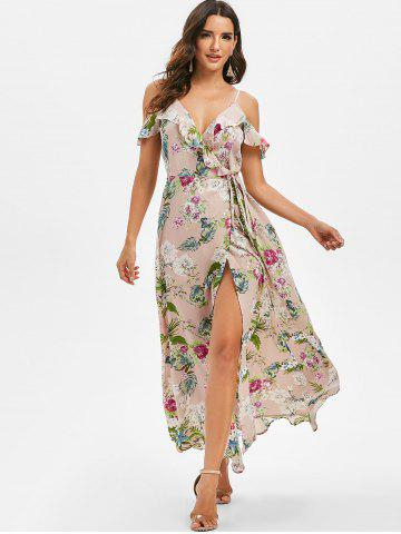 Flower Print Cut Shoulder Flounce Wrap Maxi Dress