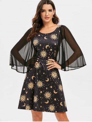 Mesh Insert Sun Moon and Star Print Flare Dress