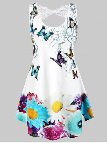Plus Size Butterfly Print Lace Panel Back Tank Top
