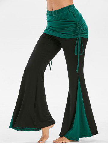 Skirted Wide Leg Two Tone Pants