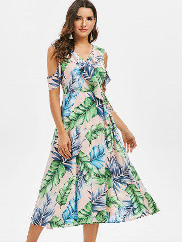 Palm Print Cold Shoulder Ruffled Midi Dress