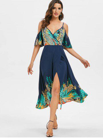 Cold Shoulder Tropical Print Maxi Surplice Dress