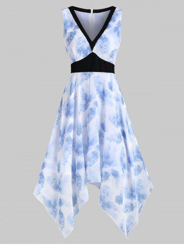 High Waisted Tie Dye Asymmetrical Knee Length Dress