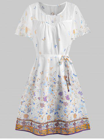 Floral Print A Line Mini Dress with Belt