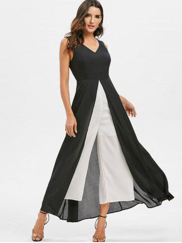 Contrast Color Overlay Wide Leg Jumpsuit