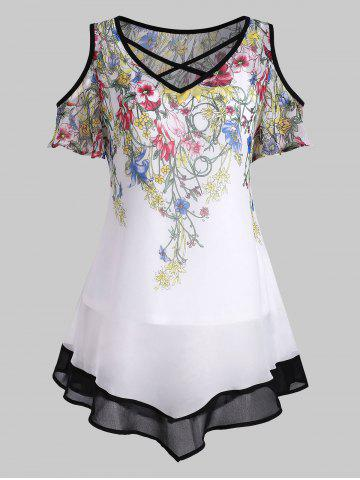 Floral Open Shoulder Asymmetrical Blouse with Camisole