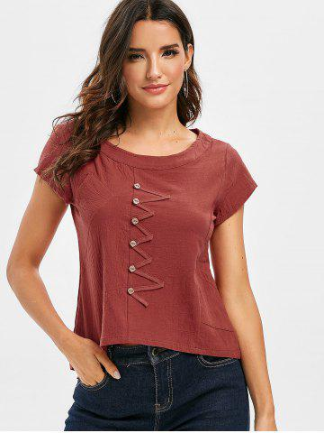 Buttons Embellished Solid High Low Blouse