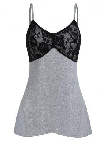 Lace Insert Cami Flare Tank Top