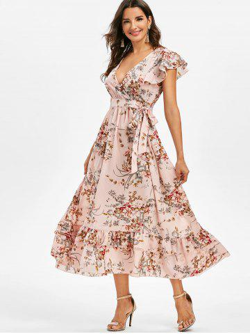 Floral Print Flounced Midi Surplice Dress
