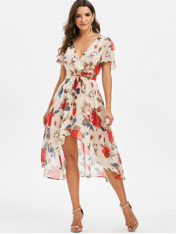 High Low Floral Print Midi Dress