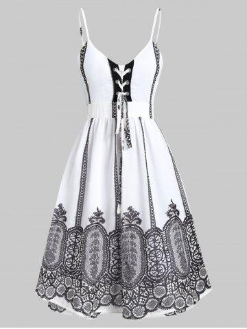 82f7499d7860 Lace-up Backless Printed Spaghetti Strap Dress