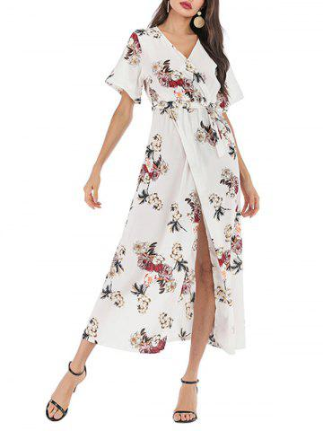 Surplice Flower Print Slit Maxi Belted Dress