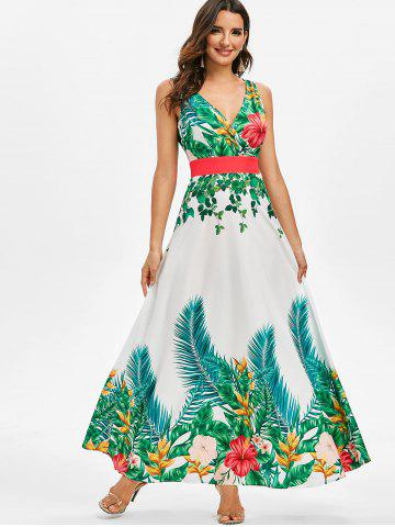 Tropical Print Maxi Surplice Dress