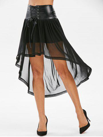 Lace Up Asymmetrical Mesh Overlay Shorts