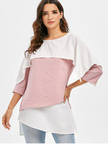 Overlay Color Block Asymmetrical Blouse