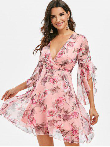 Surplice Floral Flare Sleeve Dress