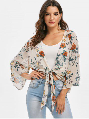 Flower Tie Hem Plunging Blouse