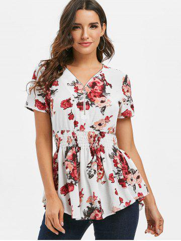 Floral Half Zipper Shirred Blouse
