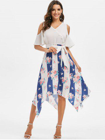 Handkerchief Cold Shoulder Floral Print Dress
