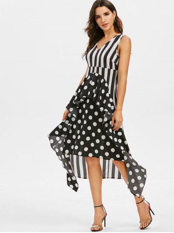 Polka Dot Striped Ruffled Midi Dress