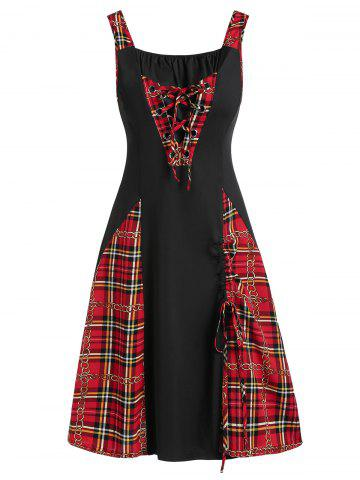 Lace-up Plaid Chains Print Cinched Casual Dress