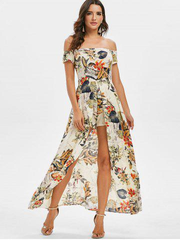 Floral Off The Shoulder Maxi Dress with Romper