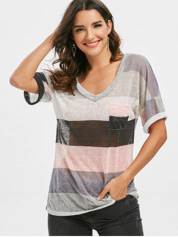 Multi Striped Front Pocket Tee