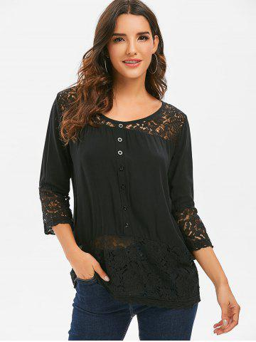 Lace Panel Button Tunic Top