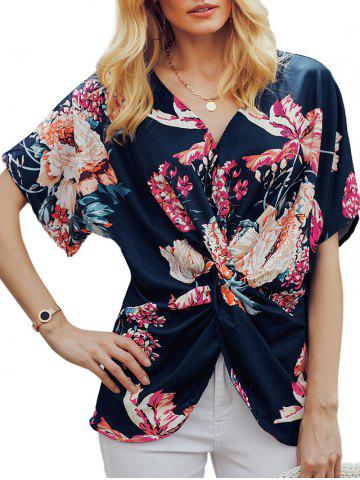 Floral V Neck Twisted Blouse