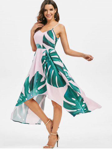 Asymmetrical Palm Print Maxi Dress