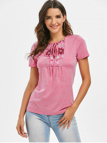 Space Dye Lace-up Flower Print Tee