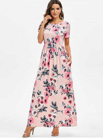 Short Sleeve Flower Print Maxi Dress