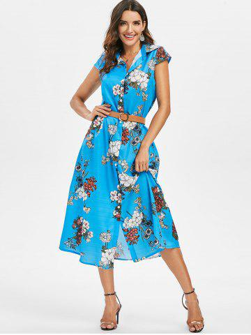 Floral Shirt Collar Belted Dress