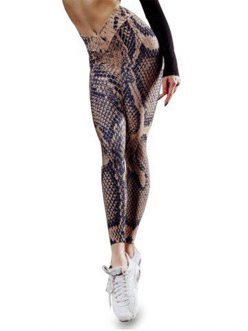 Snakeskin Print High Waisted Yoga Gym Leggings