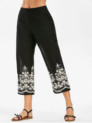 High Rise Embroidery Ninth Pants