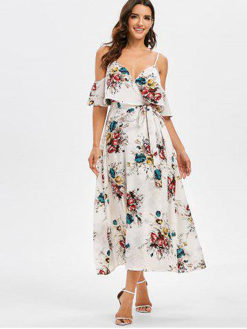 Floral Print Cold Shoulder Ruffled Dress